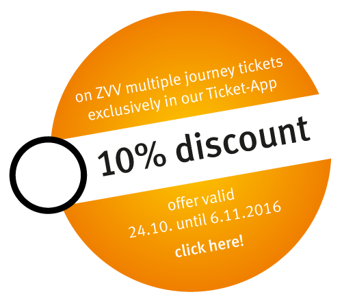 Button saying: on ZVV multiple journey tickets - exclusively in our Ticket-App - 10% discount. Offer valid 24.10. until 6.11.2016. Click here!