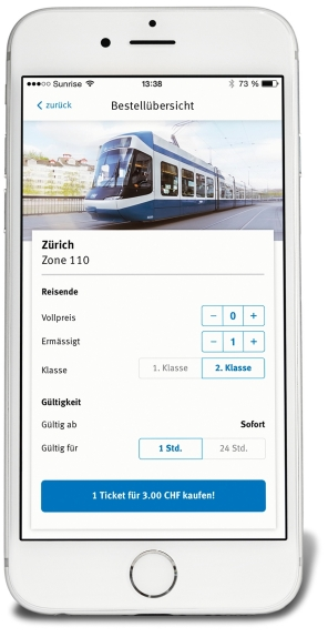 Screenshot of the ZVV ticket app