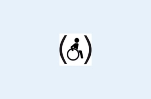 Pictogram of a wheelchair-user in brackets