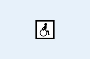 Pictogram with a wheel-chair user with a square border