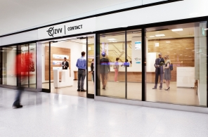 Outside view of the new ZVV-Contac customer centre in the Löwenstrasse passageway at Zurich main station.